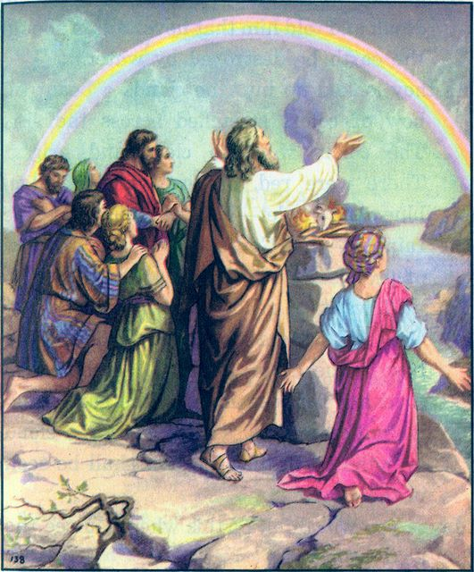 Noah worships God after the Flood